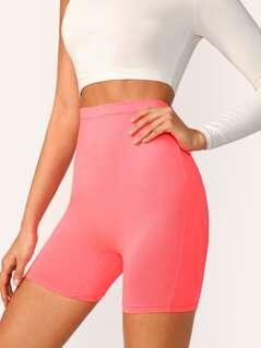 Neon Pink High Waist Cycling Shorts