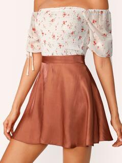 Plain Elastic Waist Satin Flare Skirt
