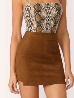 Stepped Side Suede Bodycon Skirt