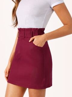 Paperbag Waist Solid Skirt