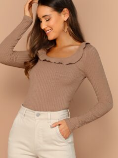 Ruffle Foldover Rib Knit Slim Fitted Tee