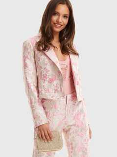 Notch Collar Double Button Jacquard Blazer