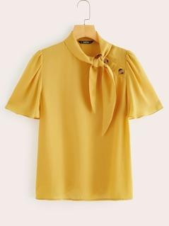 Buttoned Detail Tie Neck Flutter Sleeve Blouse