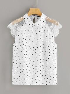 Lace Raglan Sleeve Heart Print Blouse