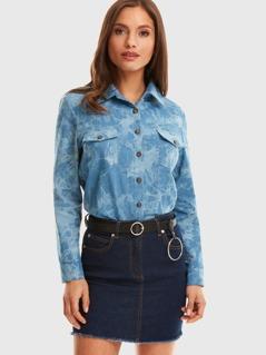 Button Front Tie Dye Utility Shirt
