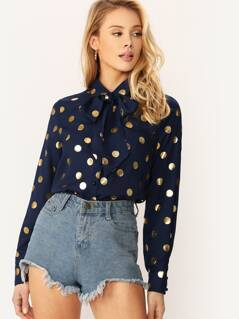 Metallic Polka Dot Tie Neck Shirt