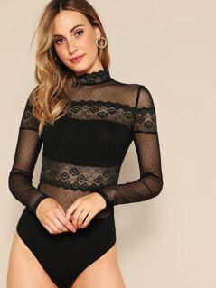 Lace Sheer Mock-neck Bodysuit