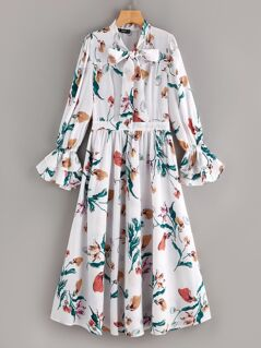 70s Pussybow Tiered Flounce Sleeve Floral Dress
