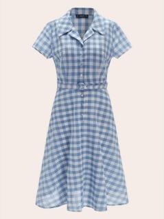50s Notch Collar Buckle Belted Plaid Shirt Dress