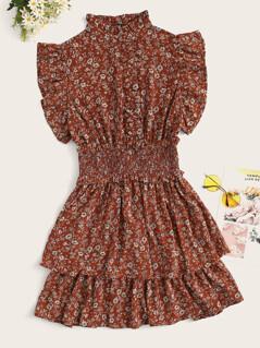 Frill Neck Shirred Waist Layered Ruffle Floral Dress