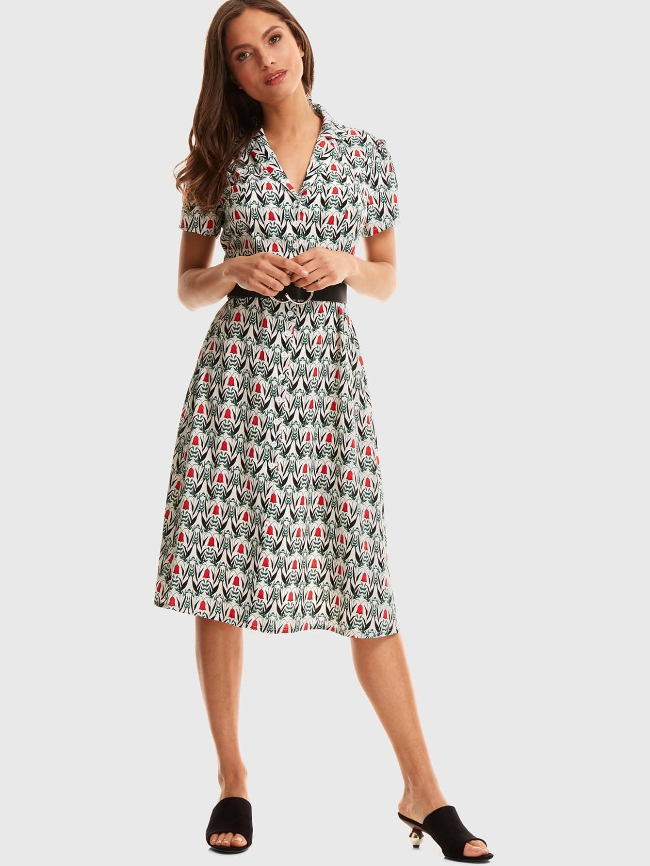 Купить Цветочное платье с разрезом на воротнике без пояса, Naima, SheIn