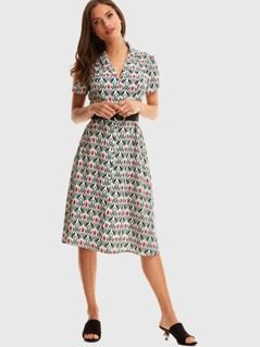 Notched Collar Floral Print Dress Without Belt