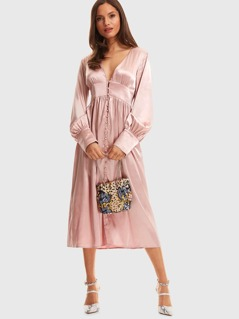 Button Front Bishop Sleeve Satin Dress