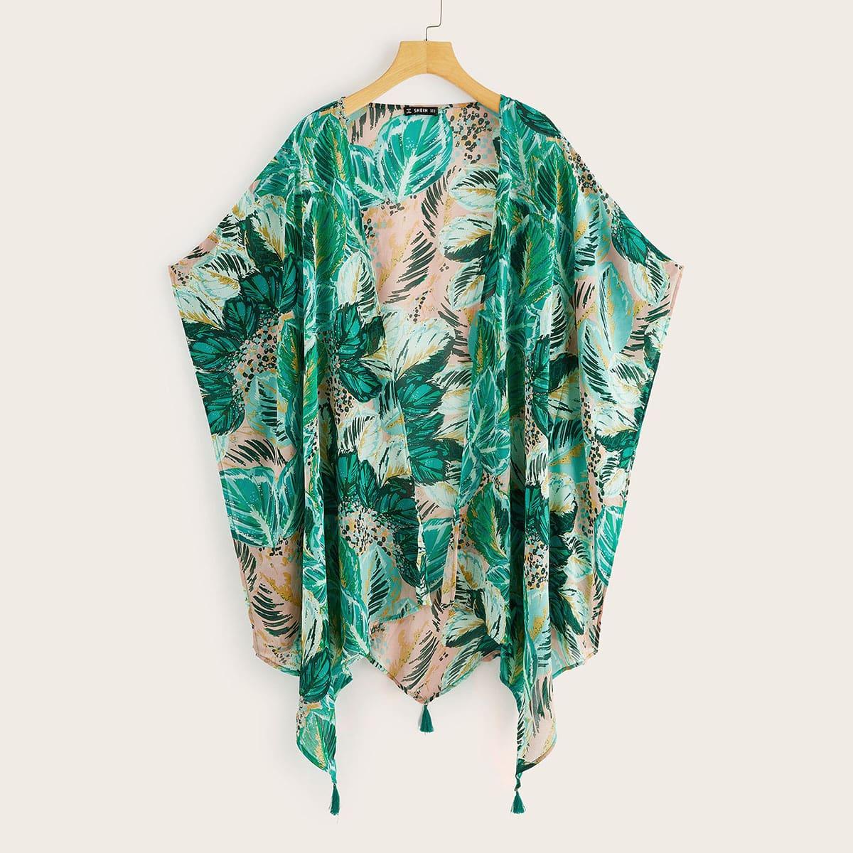 Veel kleurig Boho Tropisch kimono Asymmetrisch