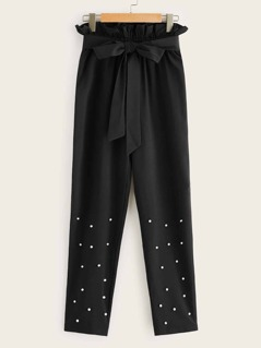 Ruffle Detail Belted Pearls Beaded Pants