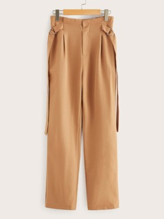 70s Frilled Waist Buckle Strap Detail Pants