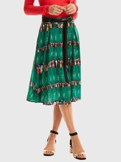 Waist Belted Figure Print Skirt