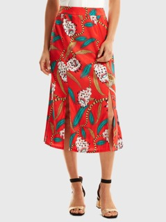 Lotus Print M-slit Skirt