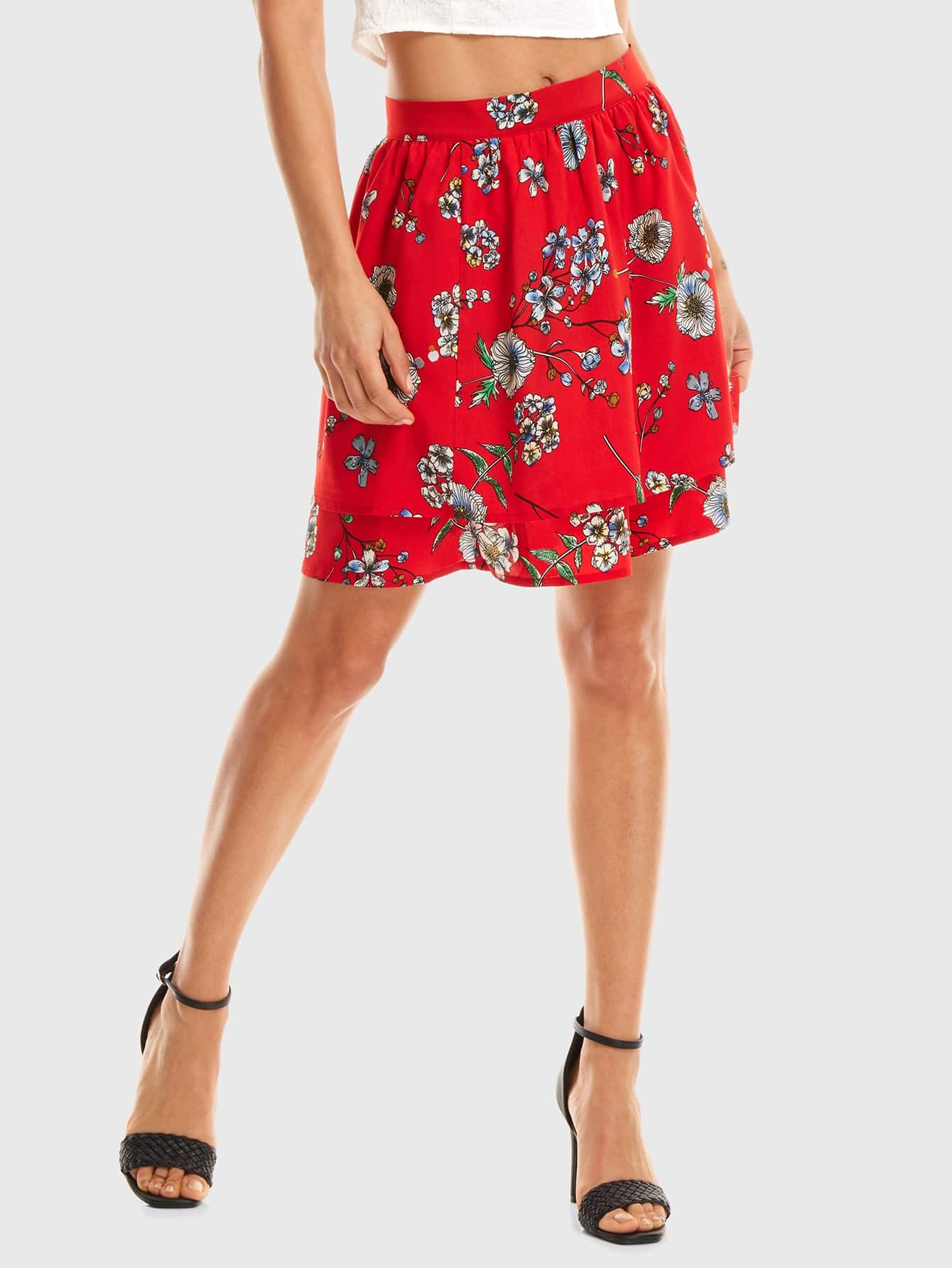 Two Layer Floral Skirt