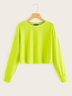 Drop Shoulder Neon Green Crop Sweatshirt
