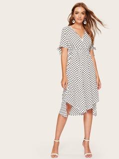 Dip Hem Surplice Polka Dot Tea Dress