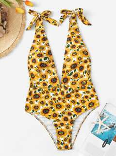 Random Sun Floral Tied Strap One Piece Swimsuit
