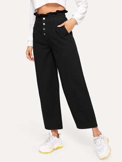 Frill Waist Button Up Jeans