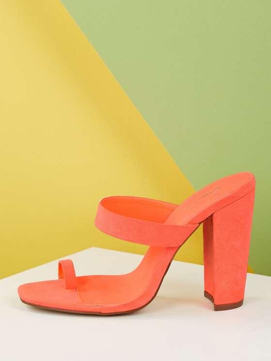Heel Loop Single Strap Toe Chunky Sandals H2ED9I