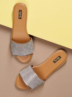 Wide Rhinestone Crystal Band Slide Flat Sandals