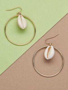 Hoop And Puka Shell Dangling Earrings