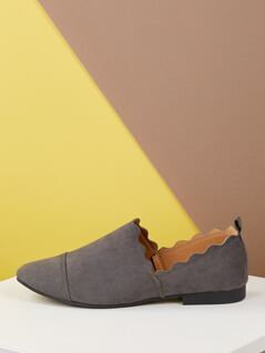 Scalloped Edge Pull On Flat Loafers