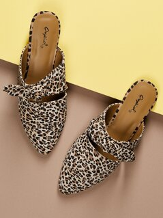 Leopard Print Bow Detail Pointed Toe Flat Mules