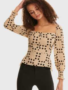 Polka Dot Shirred Peplum Top