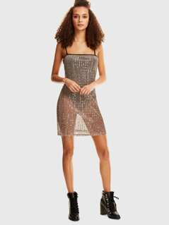 Bodysuit Insert Sequin Sheer Cami Dress