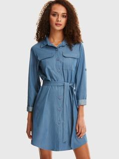 Flap Pocket Tab Sleeve Belted Shirt Dress