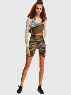 Camo Print Biker Shorts
