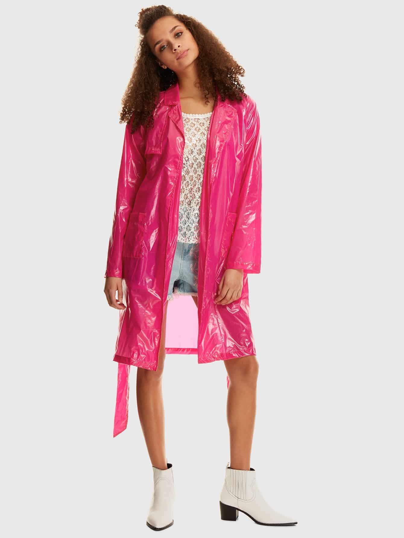 Дождевик с двойными карманами и поясом