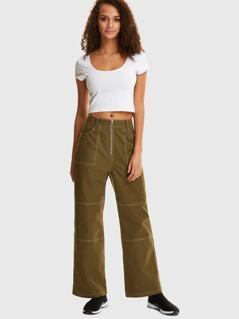 Exposed Zipper Fly Ring Detail Contrast Stitch Pants