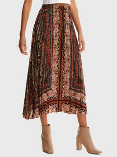 Elastic Waist Scarf Print Pleated Skirt