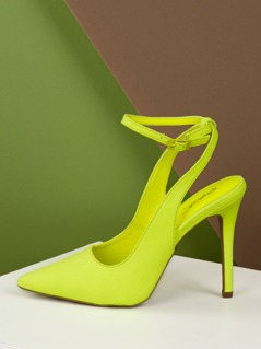 Neon Pointed Toe Buckle Strap Stiletto Heel Pumps