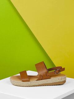 Double Band Slingback Flatform Jute Wedge Sandals