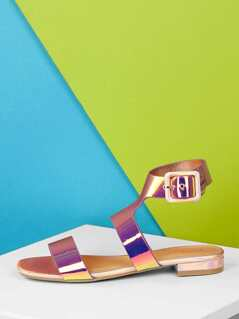 Gladiator Ankle Strap Iridescent One Band Sandals