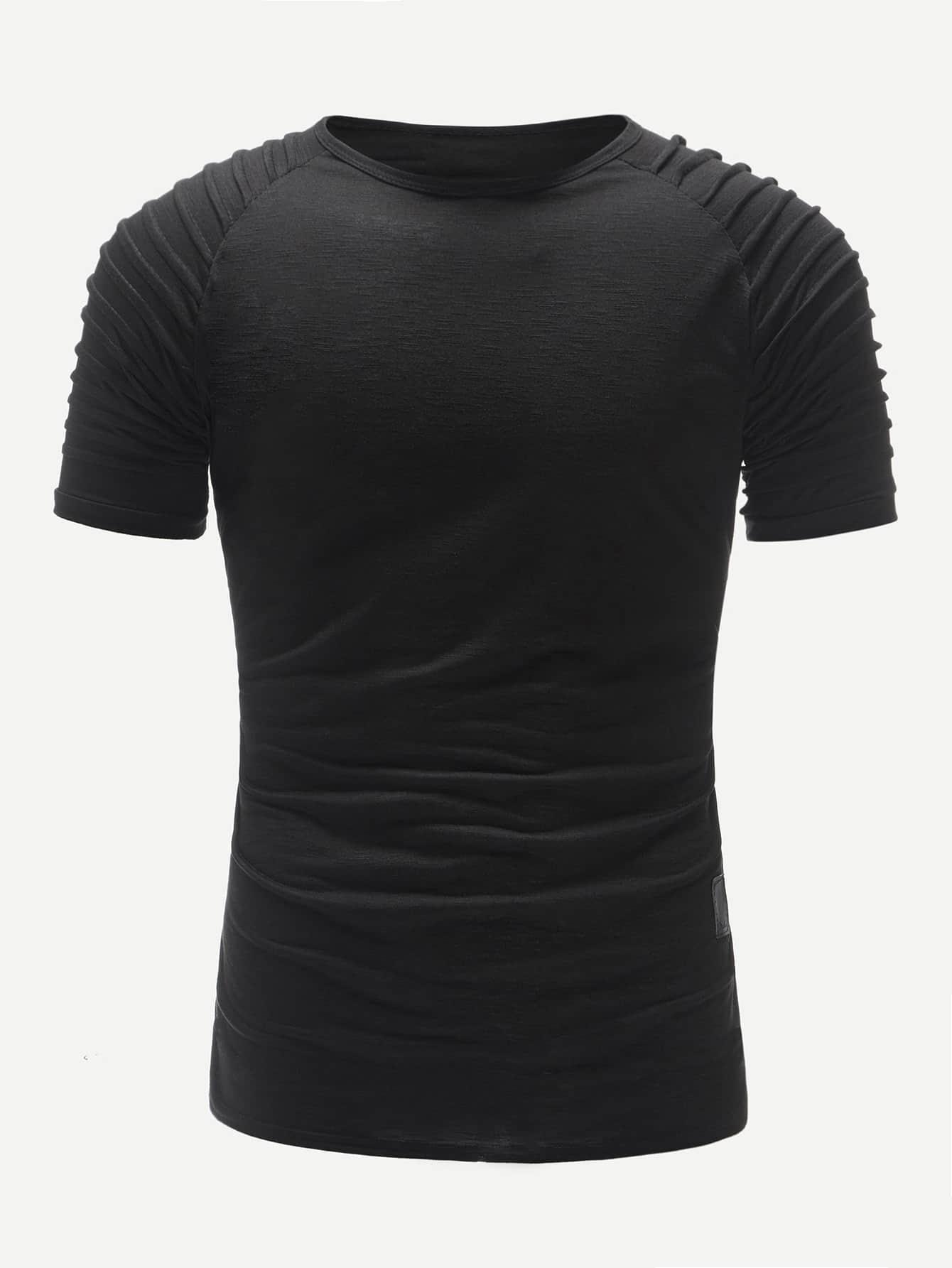 Купить Мужская однотонная футболка с рукавом-регланом, null, SheIn
