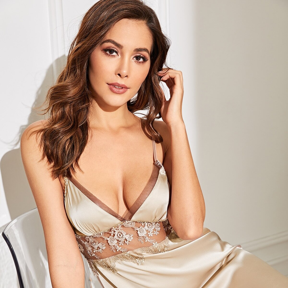 Champagne Sexy Bloemen Lounge kleding Contract kant