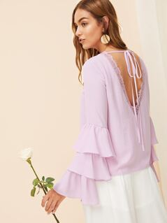Tied V Back Layered Sleeve Top