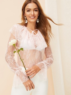 Tie Neck Bell Sleeve Floral Lace Blouse