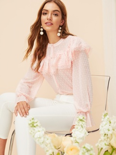 Ruffle Trim Dot Jacquard Top