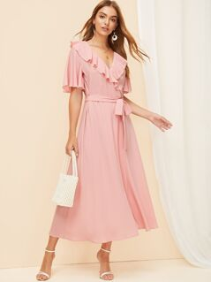Flutter Sleeve Flounce Trim Wrap Split Dress