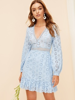 Plunging Neck Lace Insert Embroidered Eyelet Dress