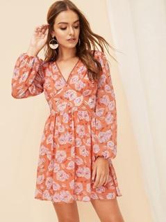 Buttoned Lantern Sleeve Floral Wide Waist Dress